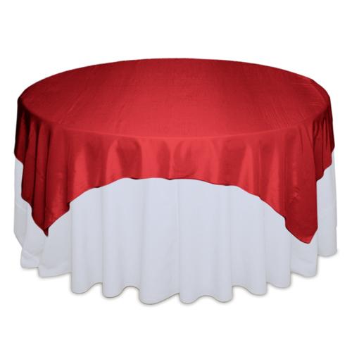 Apple Red Table Overlays - Taffeta Apple Red Taffeta Overlay Rental