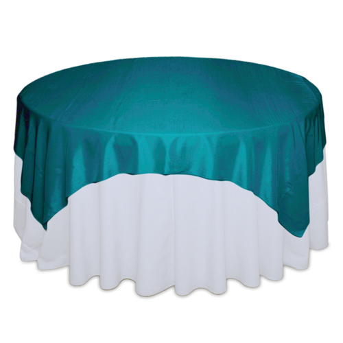 Teal Tablecloth Rentals - Taffeta Teal Taffeta Overlay Rental