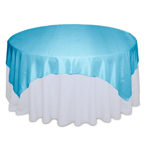 Aqua Table Overlays Rentals - Taffeta Aqua Taffeta Overlay Rental