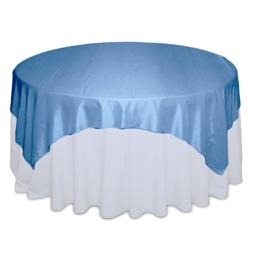 Medium Blue Tablecloth Rentals - Taffeta Medium Blue Taffeta Overlay Rental
