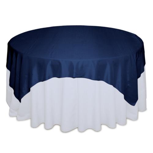 Midnight Blue Tablecloth Rentals - Taffeta Midnight Blue Taffeta Overlay Rental