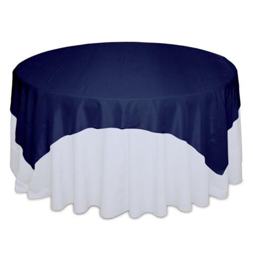 Blue Velvet Tablecloth Rentals - Taffeta Blue Velvet Taffeta Overlay Rental