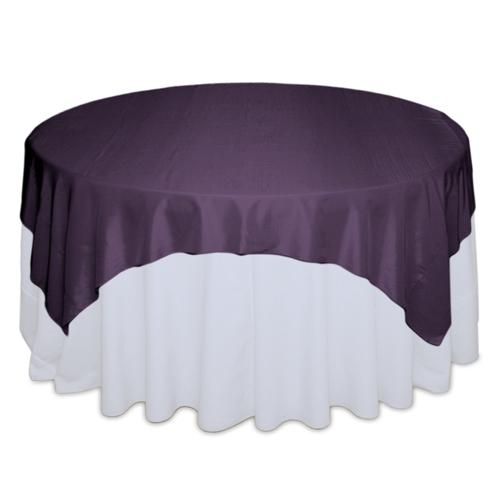 Eggplant Tablecloth Rentals - Taffeta Eggplant Taffeta Overlay Rental