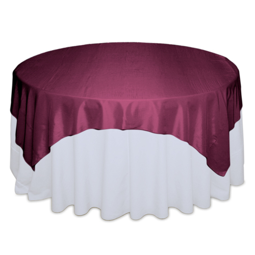 Plum Tablecloth Rentals - Taffeta Plum Taffeta Table Overlay Rental