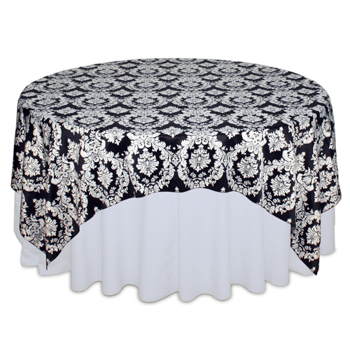 Black & White Damask Satin Overlay Rental Black & White Damask Satin Overlay Rental