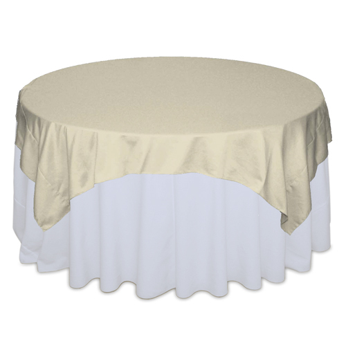 Champagne Matte Satin Table Overlay Rental Champagne Matte Satin Overlay Rental