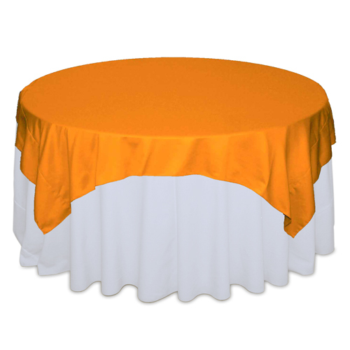 Tangerine Matte Satin Table Overlay Rental