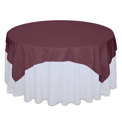 Claret Matte Satin Table Overlay Rental