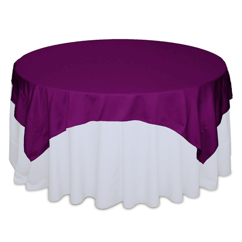 Persian Plum Matte Satin Table Overlay Rental