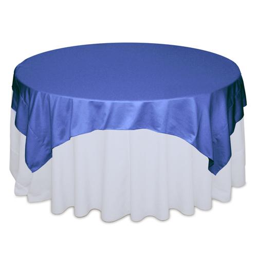 Cornflower Blue Matte Satin Table Overlay Rental `Cornflower Blue Matte Satin Overlay Rental
