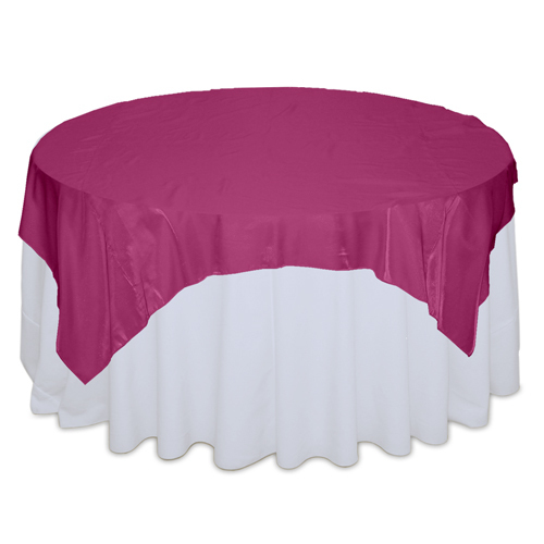 Fuchsia Organza Satin Table Overlay Rental Fuchsia Organza Satin Overlay Rental