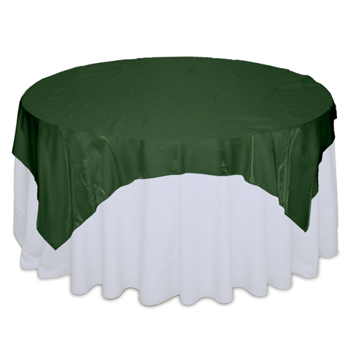 Hunter Green Organza Satin Table Overlay Rental