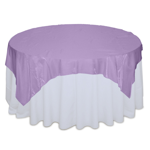 Lavender Organza Satin Table Overlay Rental