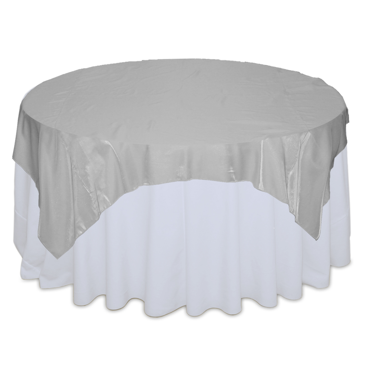 Silver Organza Satin Table Overlay Rental Silver Organza Satin Overlay Rental