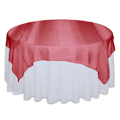Red Sheer Table Overlay Rental Red Sheer Overlay Rental