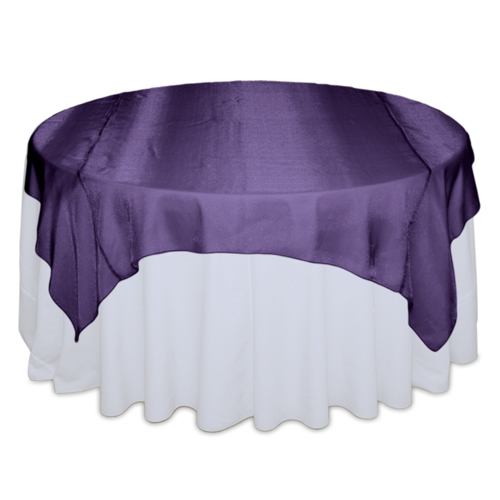 Eggplant Sheer Table Overlay Rental
