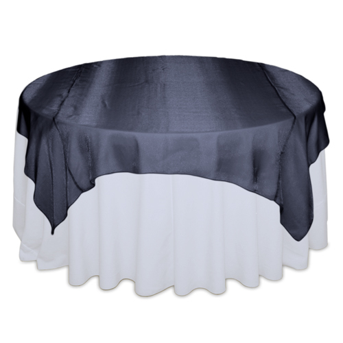 Navy Sheer Table Overlay Rental Navy Sheer Overlay Rental