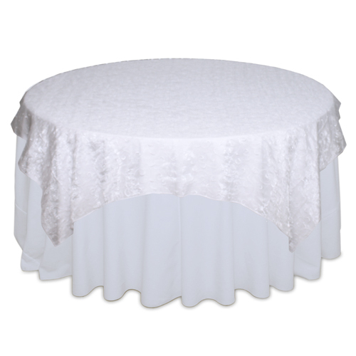 White Organza Swirl Table Overlay Rental White Organza Swirl Overlay Rental