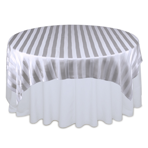 Silver Sheer Stripe Table Overlay Rental Silver Sheer Stripe Overlay Rental