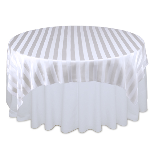 White Sheer Stripe Table Overlay Rental White Sheer Stripe Overlay Rental