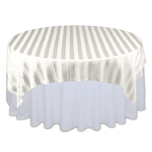 Ivory Sheer Stripe Table Overlay Rental