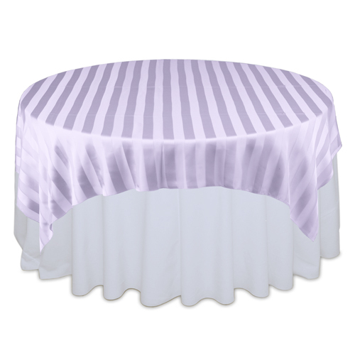 Lavender Sheer Stripe Table Overlay Rental