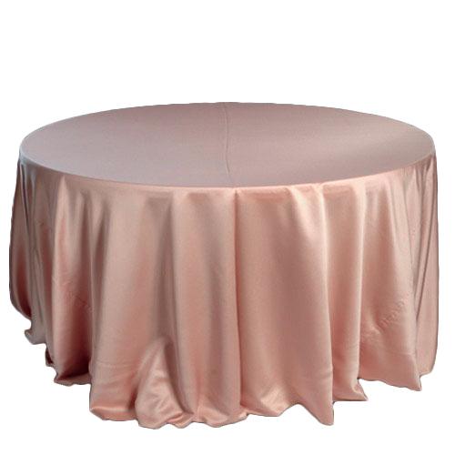 Blush Rose Gold Lamour Matte Satin Tablecloth Rentals