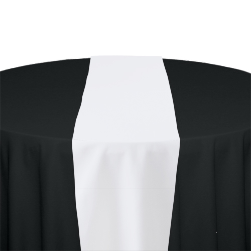 White Solid Polyester Table Runner Rental