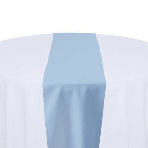 Light Blue Solid Polyester Table Runner Rental