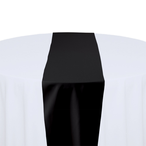 Black Solid Polyester Table Runner Rental