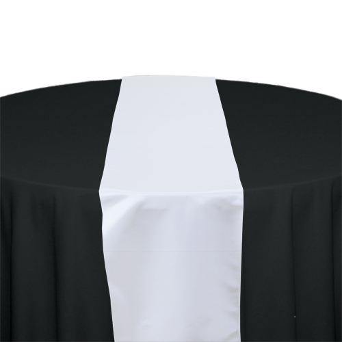 White Satin Table Runner Rental