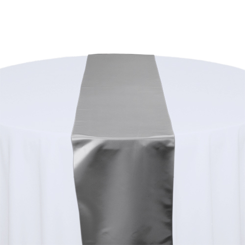 Silver Satin Table Runner Rental Silver Polyester Satin Table Runner Rental