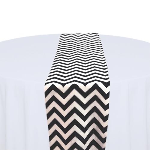 Black & White Chevron Table Runner Rental Black & White Chevron Table Runner Rental