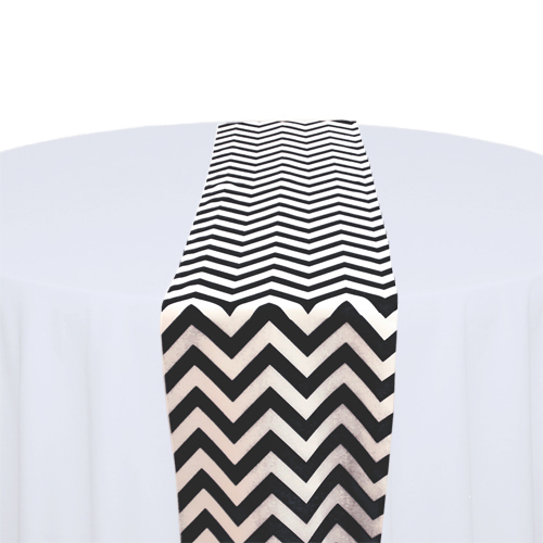 Black & White Chevron Table Runner Rental