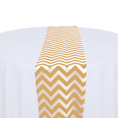 Gold & White Chevron Table Runner Rental