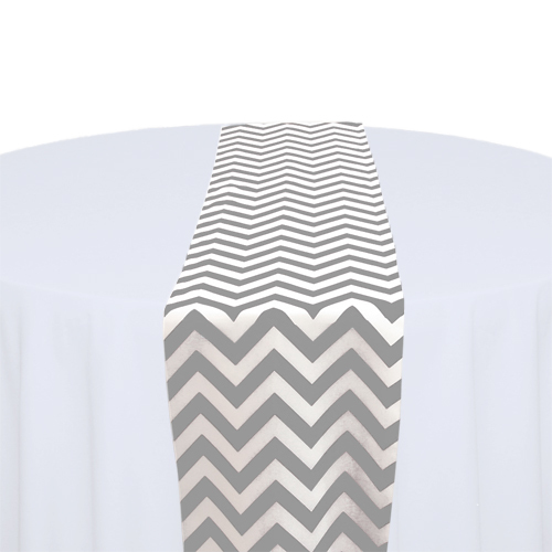 Grey & White Chevron Table Runner Rental