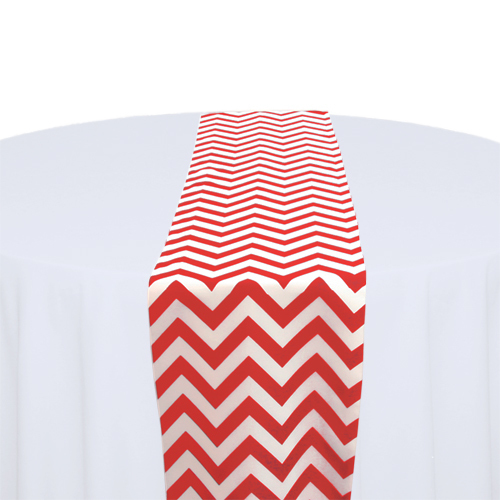 Red & White Chevron Table Runner Rental