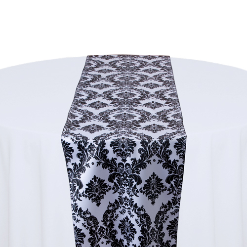 White & Black Damask Satin Table Runner Rental White & Black Damask Satin Table Runner Rental