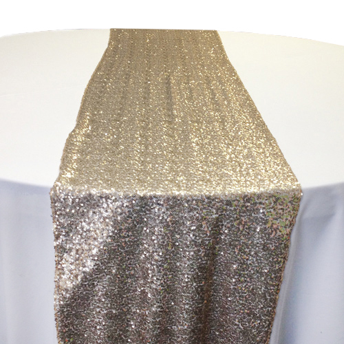 Antique Gold Sequin Table Runner Rental