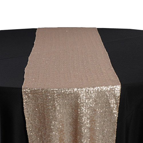 Champagne Sequin Table Runner Rental Champagne Glitz Table Runner Rental