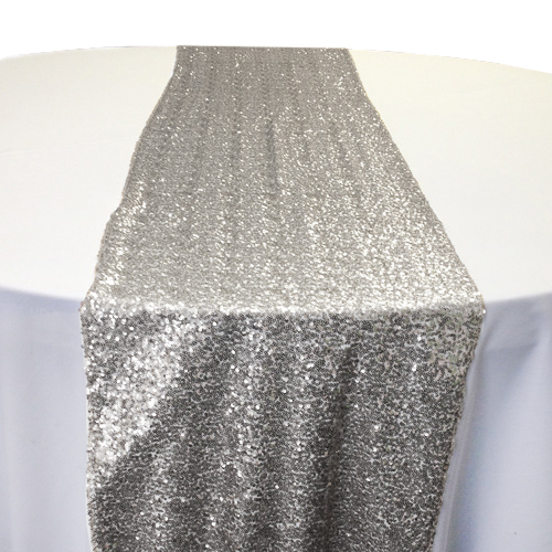 Silver Sequin Table Runner Rental Silver Glitz Table Runner Rental