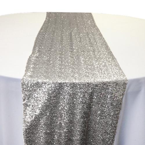 Silver Sequin Table Runner Rental