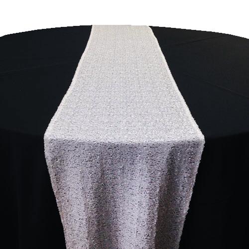 White Sequin Table Runner Rental White Glitz Table Runner Rental