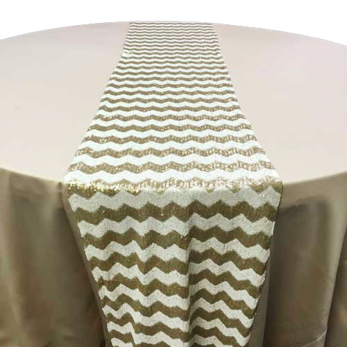 White & Gold Chevron Sequin Table Runner Rental