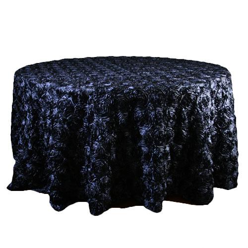Navy Rosette Satin Tablecloth Rentals Navy Rosette Satin Tablecloth Rentals