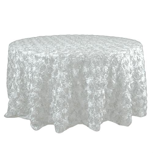 Cream Rosette Satin Tablecloth Rentals Cream Rosette Satin Tablecloth Rentals