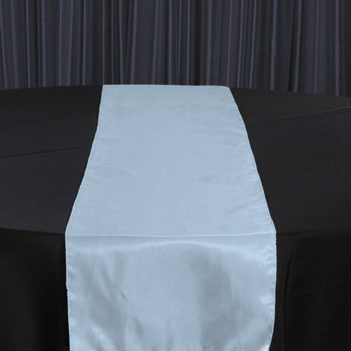 Light Blue Organza Satin Table Runner Rental Light Blue Organza Satin Table Runner Rental
