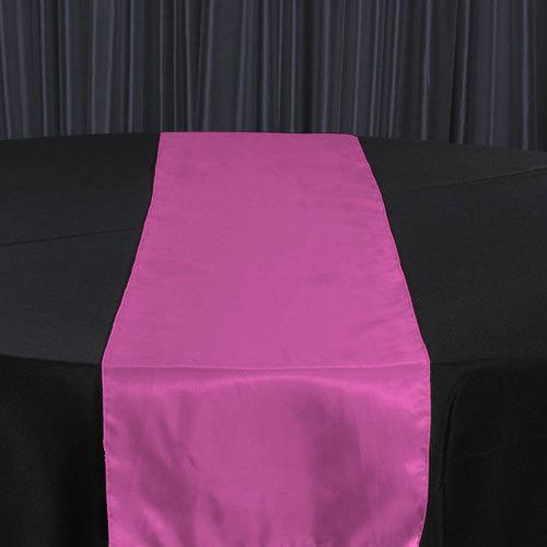 Fuchsia Dark Organza Satin Table Runner Rental