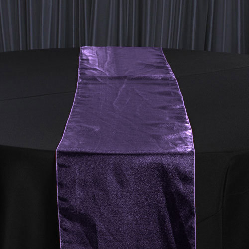Eggplant Organza Sheer Table Runner Rental