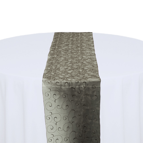 Black Organza Swirl Table Runner Rental